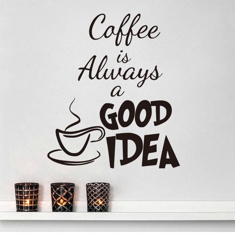 10 pcs/Pack café bonne idée tasse cuisine mur autocollant vinyle décalque Art Pub café décor Mural