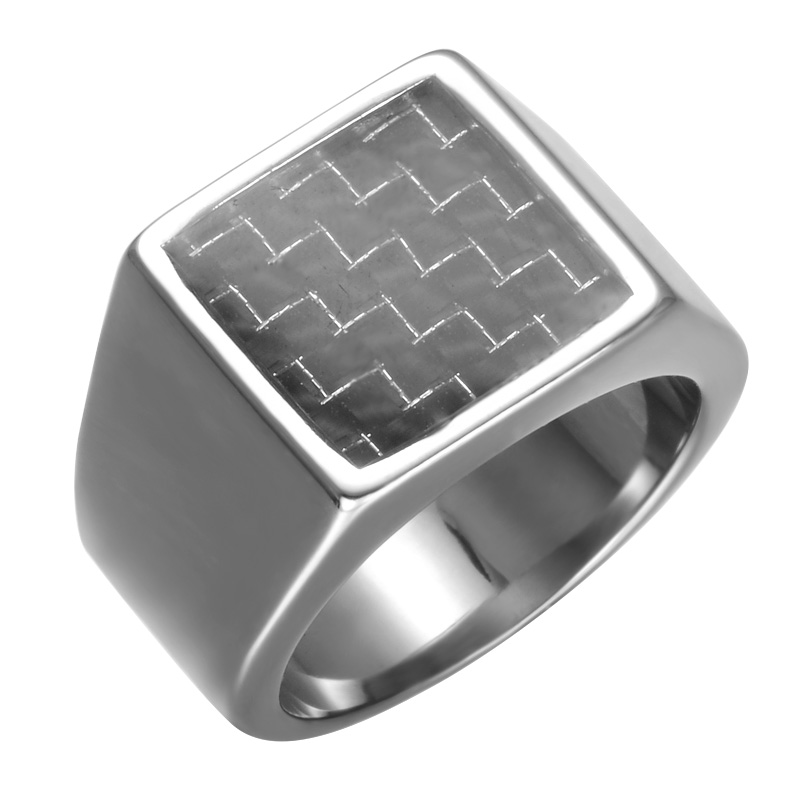 Carbon Fibre Pinky Ring Rectangle Stainless Steel Band Big Rings Steel God Color Signet Polished Biker Bague Party Jewelry ...