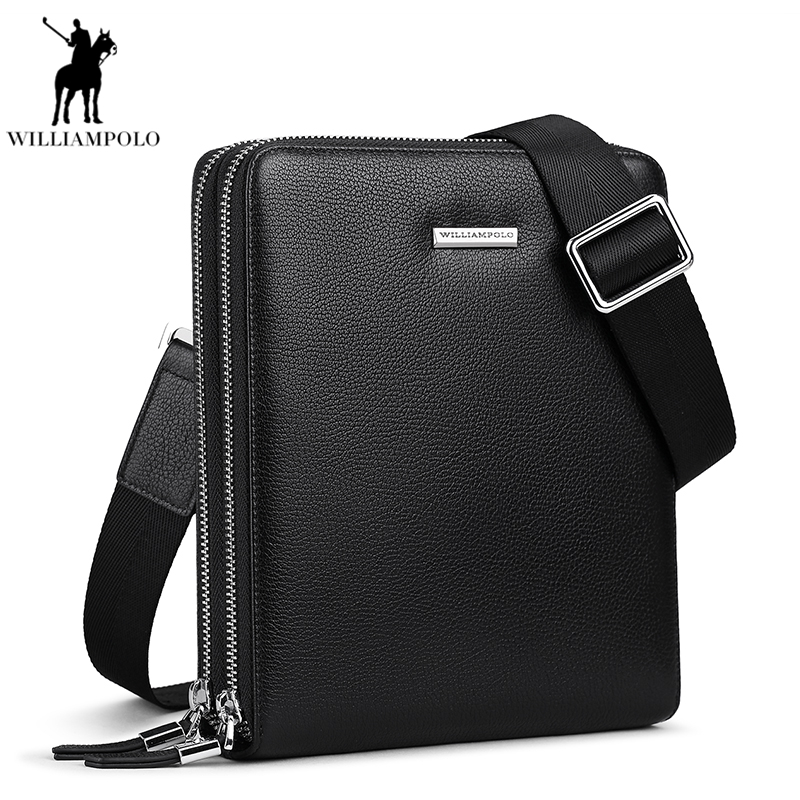 WilliamPolo Genuine Leather Shoulder Bag For Men Double Casual Crossbody Messenger Bags Strap Business Bag For Male PL008D