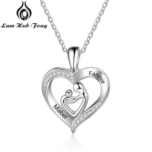 Mom and Baby Necklaces 925 Sterling Silver Personalized Heart Shape Pendant Necklaces Engraved Name Necklace Mothers day Gift