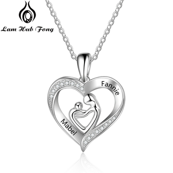 Mom and Baby Necklaces 925 Sterling Silver Personalized Heart Shape Pendant Necklaces Engraved Name Necklace Mother's day Gift 2020 new tif 18k gold plated necklaces sterling necklace jewelry silver 925 key pendant love heart pendant necklaces