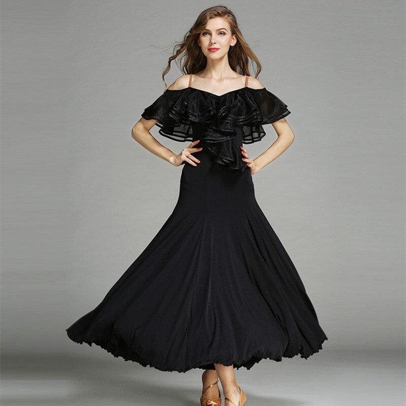Robe Flamenco rouge 3 couleurs Costume de danse espagnole robes de concours de danse de salon robes de danse de salon valse Tango noir