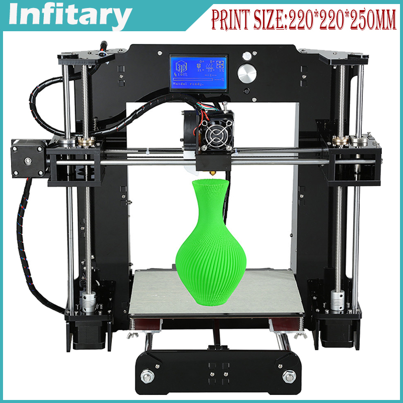 Upgradest A6 Big Size High Precision Reprap Prusa i3 DIY 3D Printer Kit with Aluminium Hotbed& 1 roll Filament&16G SD Card &LCD