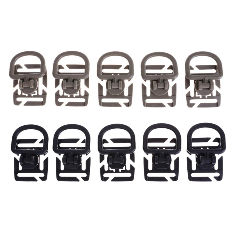 5pcs/Pack Molle Tactical Webbing Carabiner 360 Rotation Backpack Buckle Sternum Strap System Swivel D-Ring Rotation POM Buckle