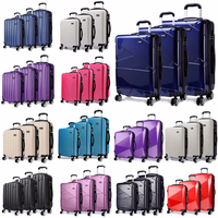 KONO 3 Pieces Rolling Hand Luggage Sets Suitcase Travel Bags Trolley Case 4 Wheels Spinner Hardside ABS PC 20 24 28 Inch YD1773L