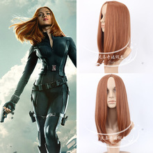 The Winter Soldier Scarlett Johansson hair accessories 50cm orange synthetic straight hair jewelry extension for cosplay wigs