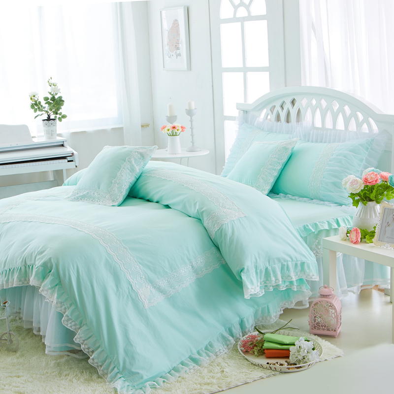 White Green Blue Cotton Lace Princess bedding sets Twin Queen King size Girls bed set duvet cover bed sheet set pillowcase GiftsWhite Green Blue Cotton Lace Princess bedding sets Twin Queen King size Girls bed set duvet cover bed sheet set pillowcase Gifts