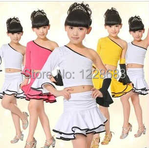 eac7f7355219 ... Girls Kids Children Unequal Single One Sleeve Yellow Pink White Crop Top  And Skirt Set Belly ...