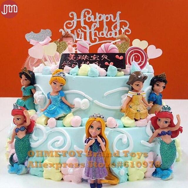 OHMETOY 6PCS Princess Snow White Ariel Rapunzel Belle Jasmine
