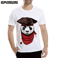The Hot Selling Summer T Shirt White Print Men 3d Printing Pirate Panda Short Sleeve Tops