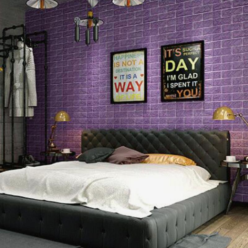 Purple 3d bricks self adhesive wall sticker soft foam for Room decor 3d self adhesive wallpaper