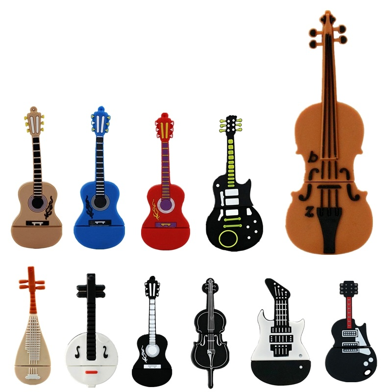 Hot Cartoon Musical Instrument Violin Pen Drive 4GB 8GB 16GB Usb Flash Drive 32GB 64GB Pendrive Guitar Flash Memory Stick U Disk