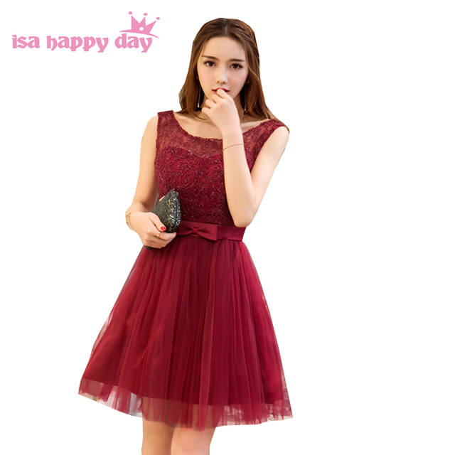 Online Shop ruffled formal elegant special custom girls wine red party prom  dreses short prom-dress 2017 dresses plus size 2018 sexy H4116  16b629493912