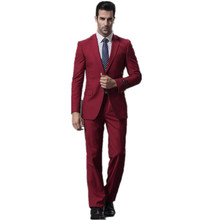 Formal occasions men suit high quality wine red collar single-breasted wedding the groom suit (jacket +pants)
