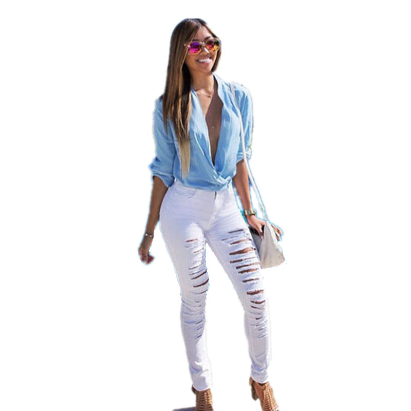 Popular White Ripped Skinny Jeans-Buy Cheap White Ripped Skinny ...