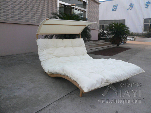 Rattan Daybed Chaise Lounge Set , Resin Wicker Patio Furniture Transport By  Sea