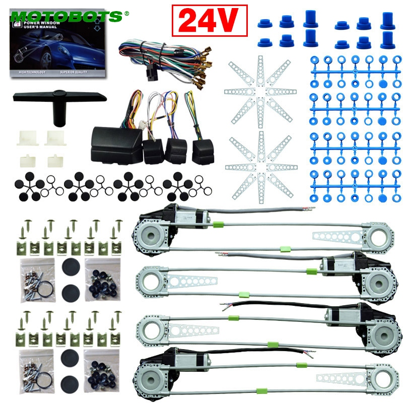 MOTTOBOTS 1Set Car/Truck DC24V Universal 4 Doors Electronice Power Window kits With 8pcs Swithces & Harness