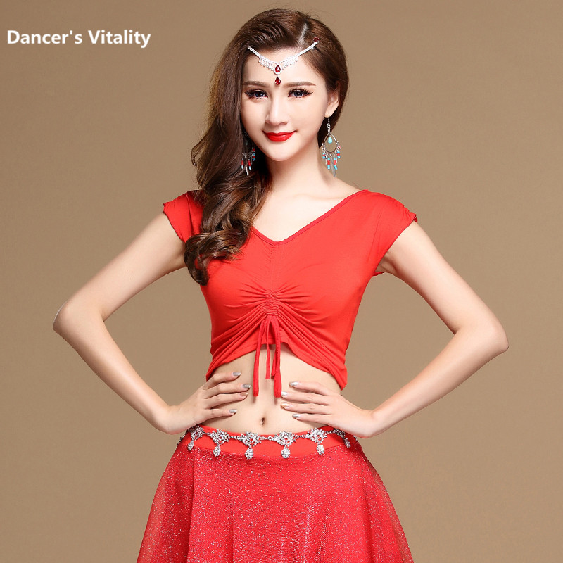 2017 Professional Wholesale T-shirt Modal Deed Red V Neck Dance Top Girls Dance Clothes Top&tees Women Fashion Dance Tops