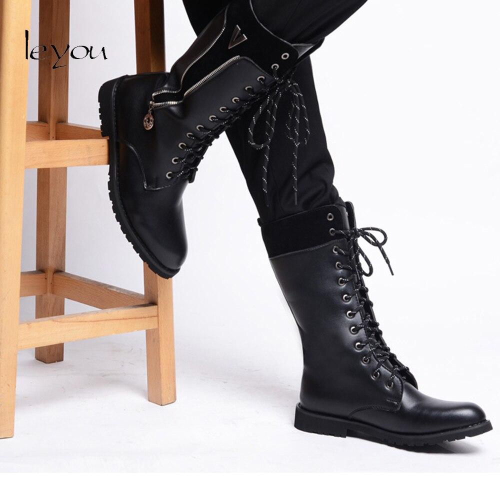 Hommes Automne En Au Cuir Moto Mode Nouvelle Marque Fur Noir Tirette Genou Chaussures Martin black Hiver Bottes Black 4wXqE5