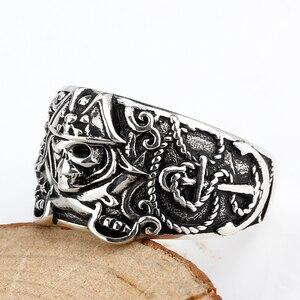 Image 3 - 925 anneau de crâne pour hommes en argent Sterling squelette crâne anneau Pirate ancre Biker Punk Style gothique pour les amoureux bijoux de fête
