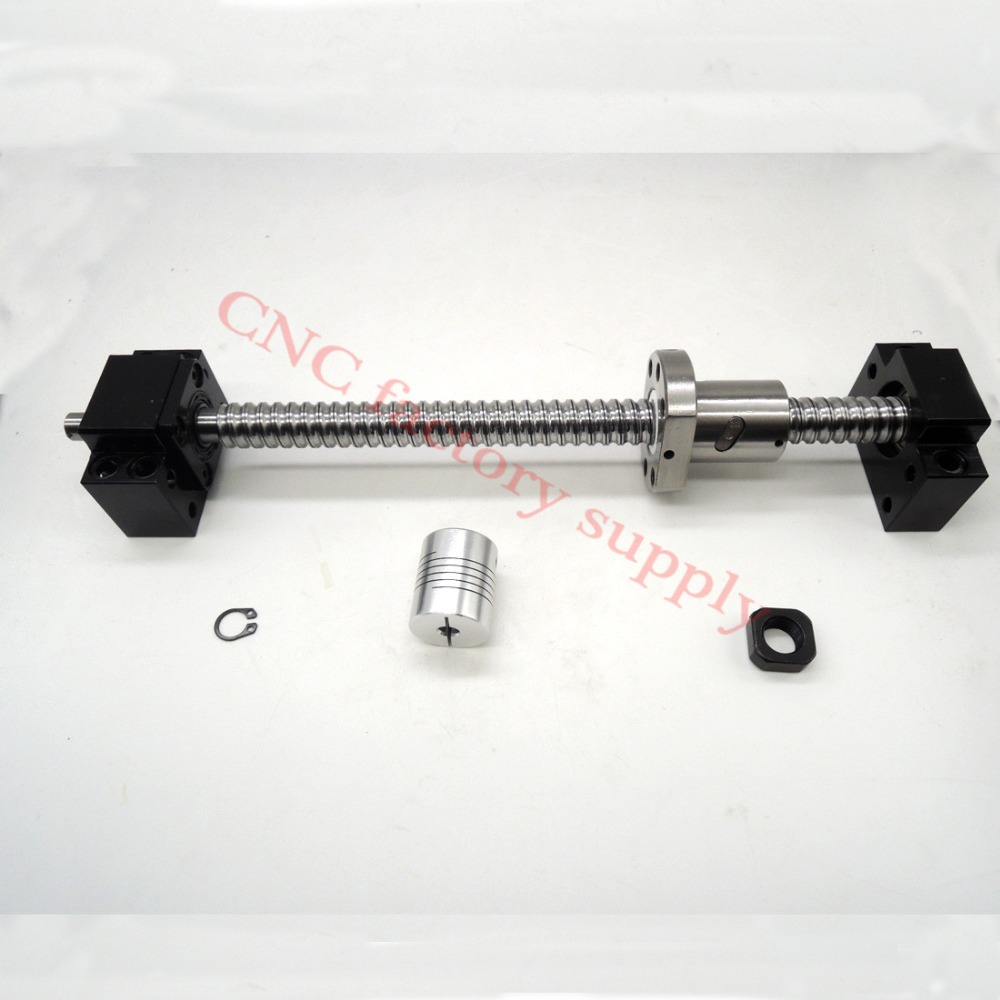 SFU1605 set:SFU1605 L500mm rolled ball screw C7 with end machined + 1605 ball nut + BK/BF12 end support + coupler for CNC parts