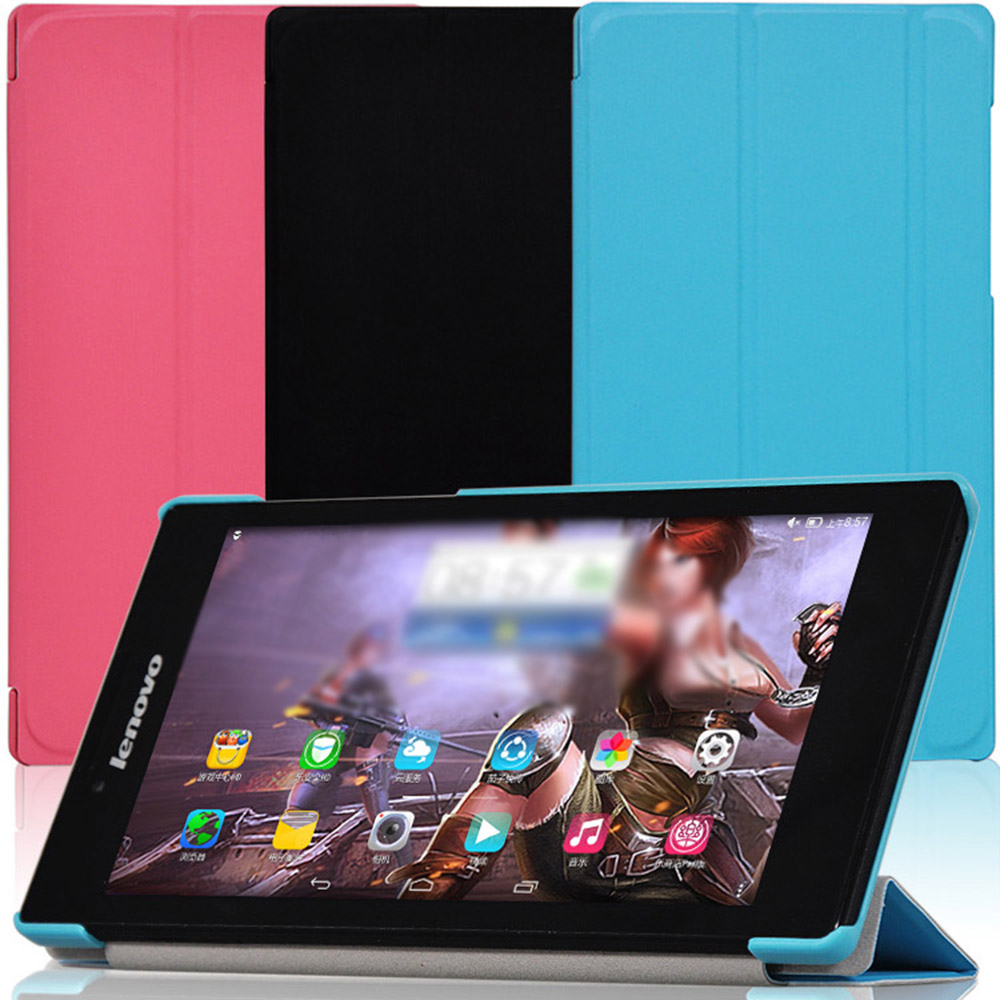 Tri-Folding PU Leather Folio Stand Folding Folio Case  For Lenovo Tab 2 A7-10 A7-10F A7 10F 7inch Tablet Case magnet smart pu leather case flip cover for lenovo tab 2 tab2 a7 20f a7 20 a7 10f a7 10 tablet case protective shell