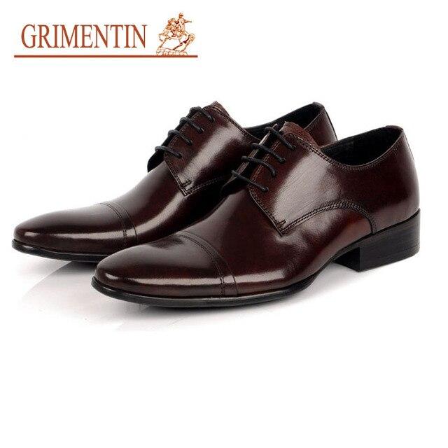 GRIMENTIN designer men leather shoes business lace up pure leather italian  office dress european mens shoes