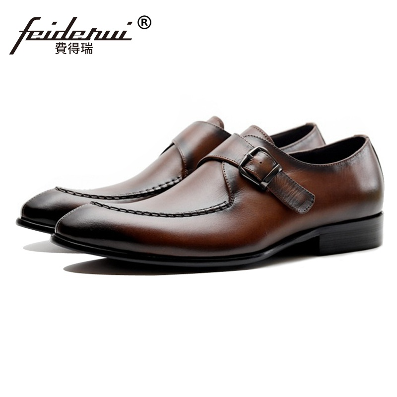 New Vintage Designer Man Wedding Shoes Genuine Leather Monk Strap Footwear Men's Round Toe Formal Dress Flats For Male JS130 luxury snake pattern patent leather men s monk strap formal dress footwear round toe handmade male casual shoes for man ymx411