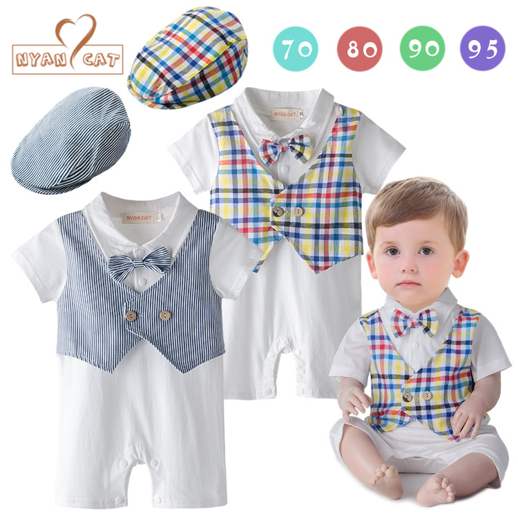 Nyan Cat Baby boy clothes romper summer short sleeves toddler infant kids romper+hat 2pcs set bow tie jumpsuit costume clothing 2pc summer sets baby boys sailor romper hat new born baby cloth infant jumpsuit for summer toddler newborn costume navy overall