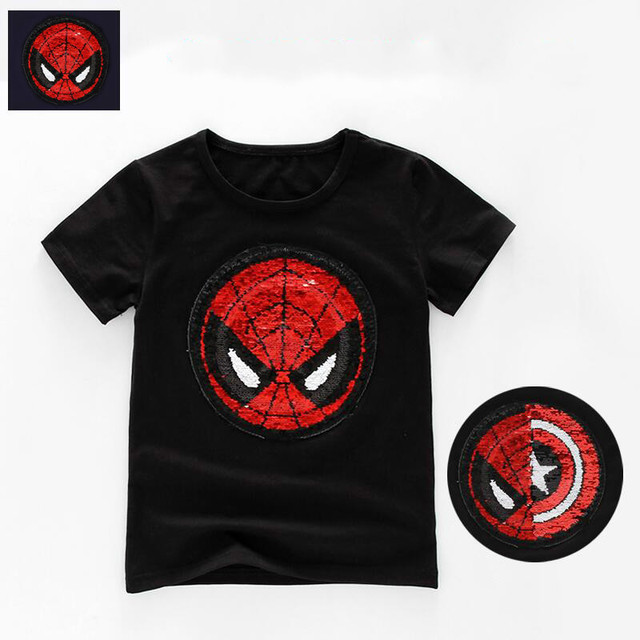 353f54d4f Creative Reversible Sequins Tees Changable Captain America Spiderman ...