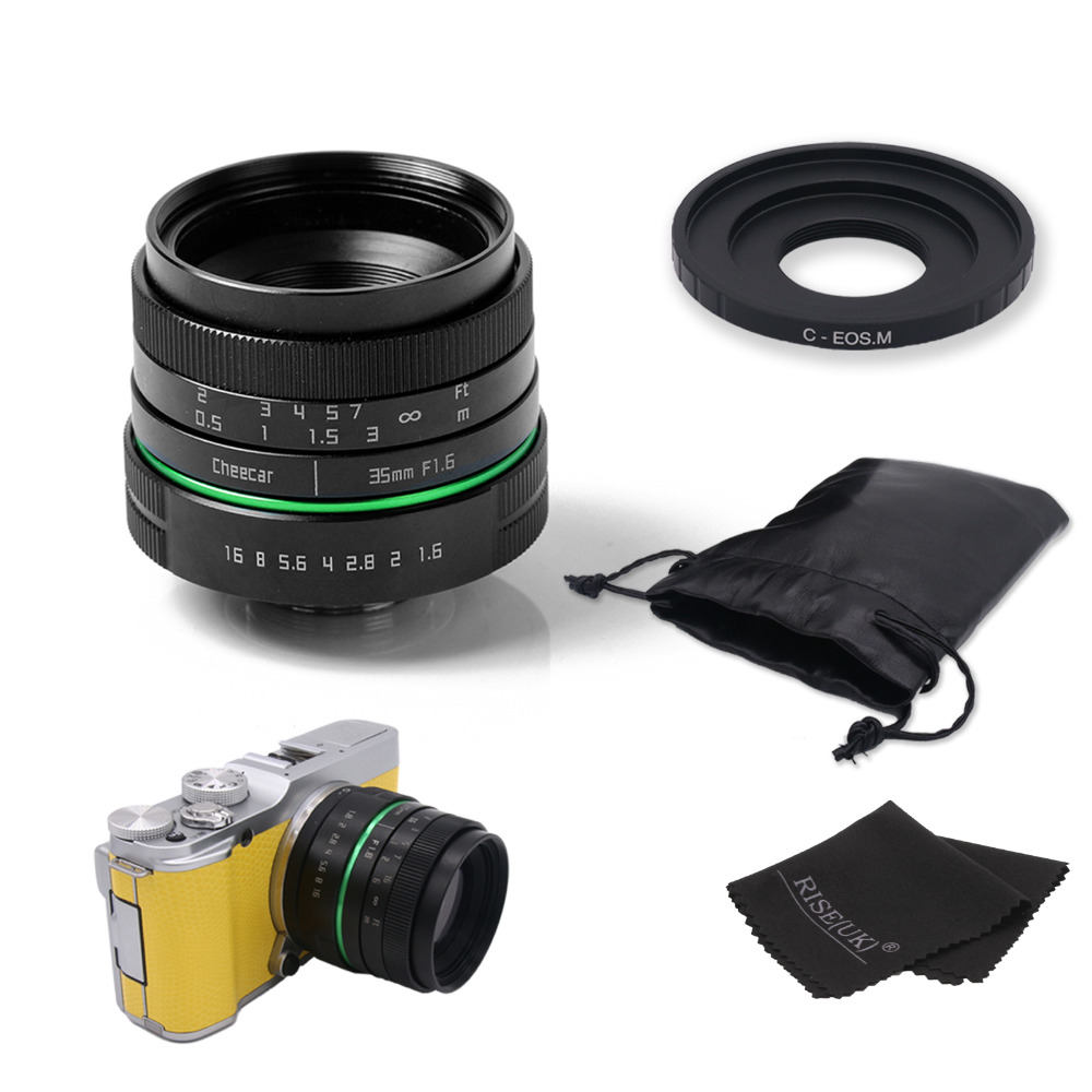 ФОТО New green circle 35mm APS-C CCTV camera lens For Canon EOS M / M2 / M3 with C-eosm adapter ring +bag + gift free shipping