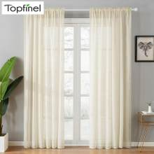 Top Finel Modern Soild White Sheer Curtains for Living Room Bedroom Kitchen Door Cafe Voile Tulle Window Curtains Plain Pleated(China)
