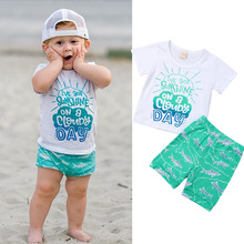 2019 Toddler Baby Boy Casual Beach Clothes Set Summer T-shirt Shorts Cartoon Outfits Beachwear Clothing 0-3Y new