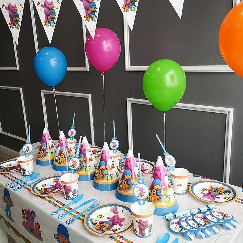 Pocoyo Elly pato Loula Festa Temática Decoração de Mesa Prato Copo de Papel Guardanapos Baby Shower Balão Fontes Do Partido de Aniversário Dos Miúdos