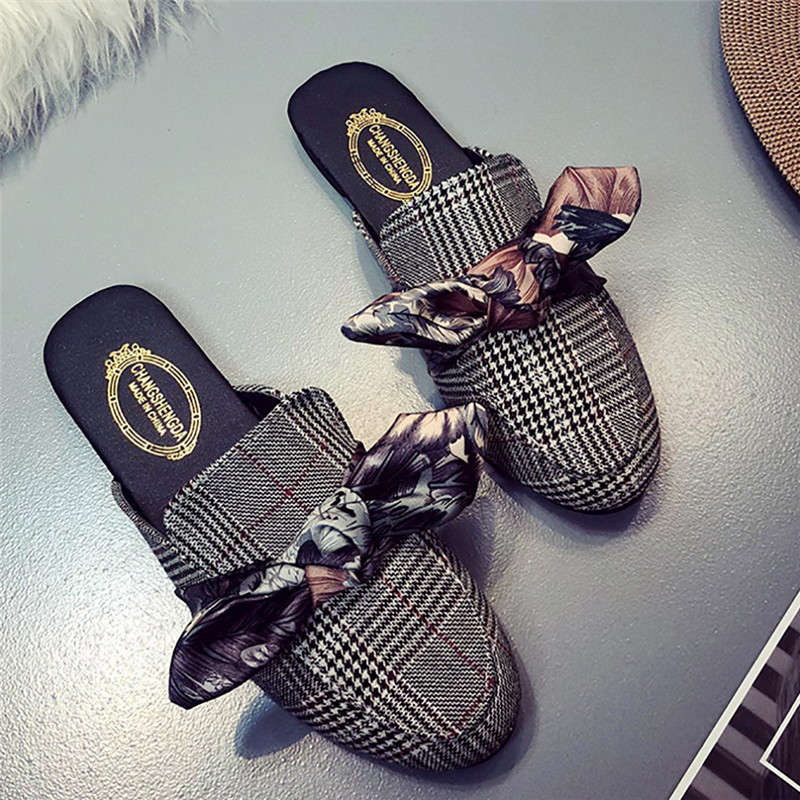 2018 Women Shallow Low Heel Print Ribbon Bow Flat Heel Round-toe Lattices Slipper Shoes Houndstooth Lazy Shoes Female Slippers