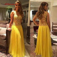 Yellow Long Lace Evening Dresses Party A Line Sequin Sexy Ladies Women Formal Dresses Evening Gown