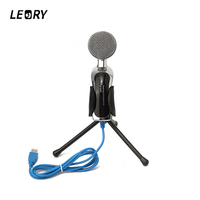 LEORY USB Karaoke Desktop Capacitive Condenser Microphones Mic With Shock Mount For PC Sound Studio Recording