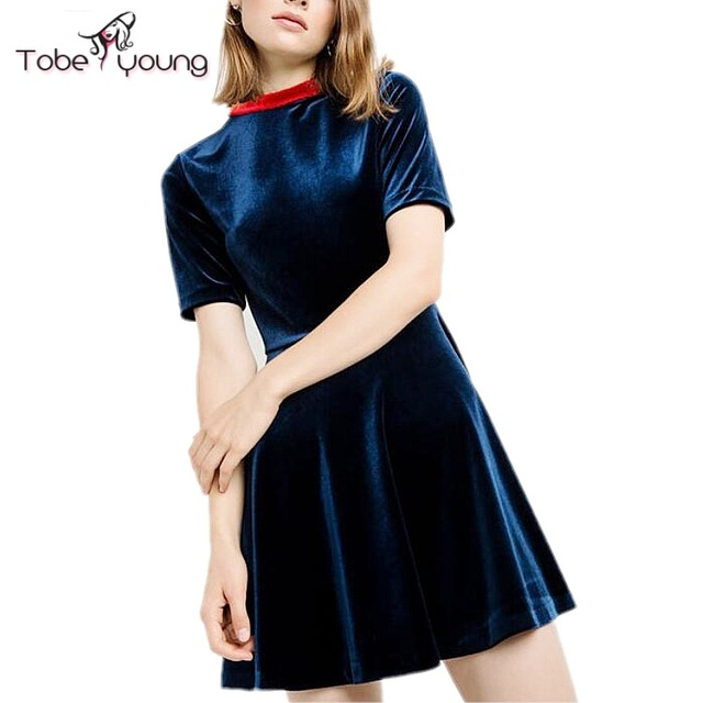2017 New Vintage Navy Velvet Short Sleeve Skater Dress Women Velour Empire  Pleated Fit Flared Mini Short Party Dresses Plus Size d570cd8a7