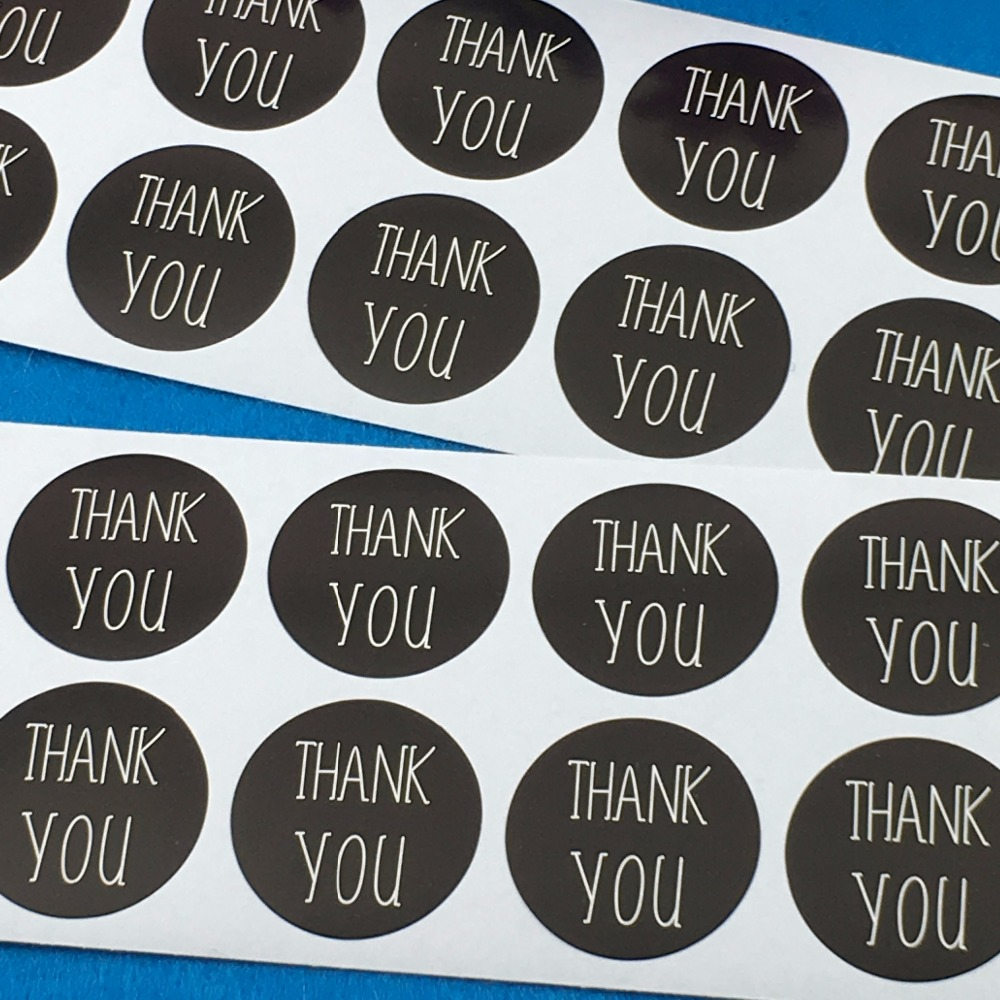 Scrapbook paper and stickers - 600pcs Lot 3cm Black Thank You Round Custom Adhesive Sticker Labels Scrapbook Envelop Classic Paper Stickers Accept Custom Logo