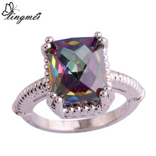lingmei Wholesale Unisex Jewelry Emerald Cut Rainbow Topaz 925 Silver Ring Size 6 7 8  9 10 11 New Design Fashion Popular Rings