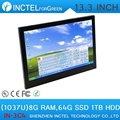 13.3 inch Embedded All-in-One Industrial PC 4-wire resistive touchscreen computer with intel celeron C1037U 1.8GHz
