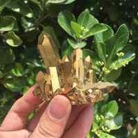 40-50g Natural Gold Yellow Quartz Aura Crystal Cluster Specimens
