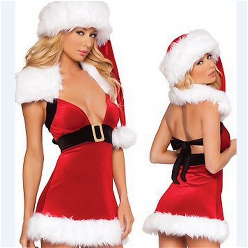 2018 New Adult Girls Xmas Red dress white Velvet Santa Claus Party Outfit high quality Sexy Christmas Fancy Dress Women