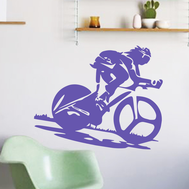 art design home decoration pvc racing bike wall sticker waterproof