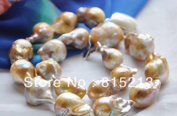 "ddh00669 Huge 17"" 21mm lavender baroque KESHI REBORN PEARL NECKLACE mabe clasp"