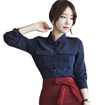 092eee2d4 Corea moda para mujer Tops y Blusas otoño manga larga azul real Botones  Oficina Blusa con 2 bolsillos camisa ropa Damen