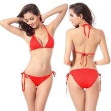2019 Sexy Swimsuit Women Swimwear Micro Mini Bikini Set Halter Strap Bathing Suits Beachwear Brazilian Bikinis Solid WITHOUT PAD
