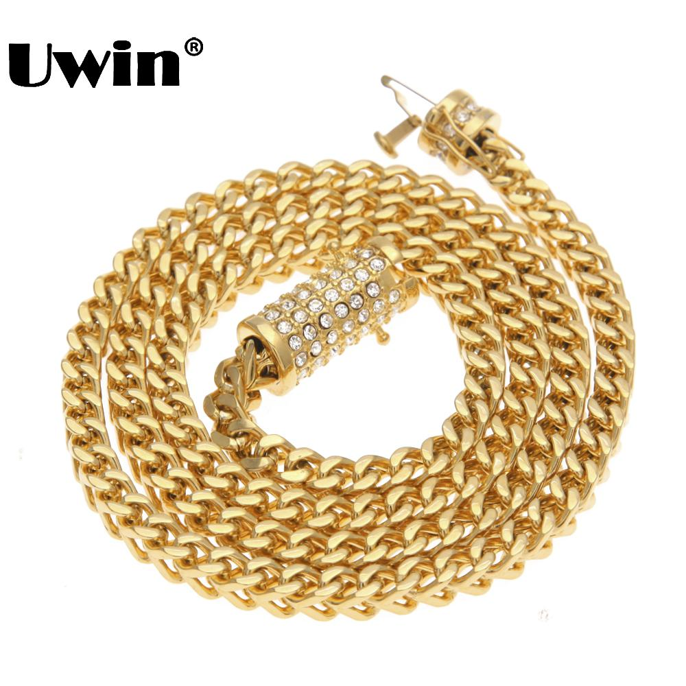 Uwin Trendy Mens Gold Franco Chain Necklace Upgrade Rhinestones Box Clasp Stainless Steel Necklace Hiphop Jewelry Wholesale