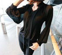 version of the Korean version of the long sleeved crepe pure color temperament, thin sexy perspective Chiffon sweater
