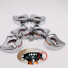 1pair New Motorcycle Chrome Fairing Mount Mirrors Orange LED Lights Cover Caps Red/Amber/Smoke for Harley Electra Glide 96-13